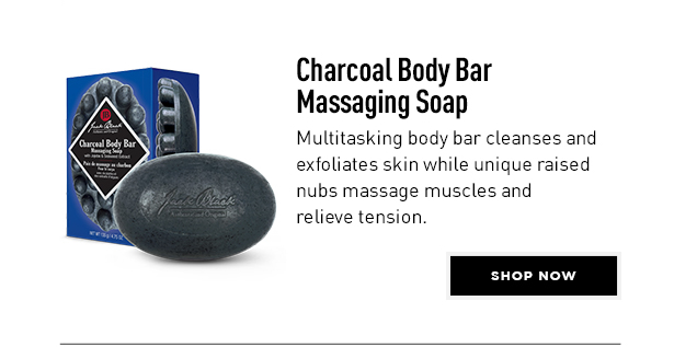 Charcoal Body Bar Massaging Soap. Multitasking body bar cleanses and exfoliates skin while unique raised numbs massage muscles and relieve tension. Shop Now