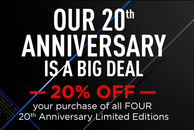 OUR 20TH ANNIVERSARY IS A BIG DEAL. 20% OFF your purchase of all FOUR 20th Anniversary Limited Editions. Beard Lube® Conditioning Shave, 33 oz.; Cool Moisture Body Lotion, 33 oz.; Turbo Wash® Energizing Cleanser, 33 oz.; and All-Over Wash for Face, Hair & Body, 33 oz. USE CODE: BIG Shop Now
